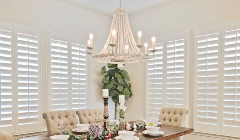 Polywood shutters in a San Diego dining room.